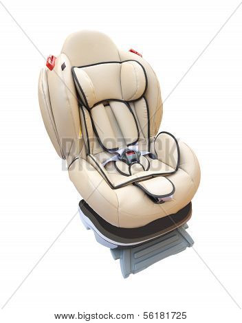 Baby car seat on white background.