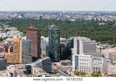 Aerial View Of Berlin With Potsdamer Platz And Public Park Tiergarten