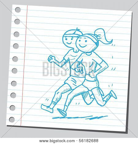 Sportsman and sportswoman jogging