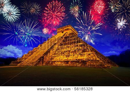 New Years firework display at pyramid of Kukulcan in Chichen Itza, Mexico