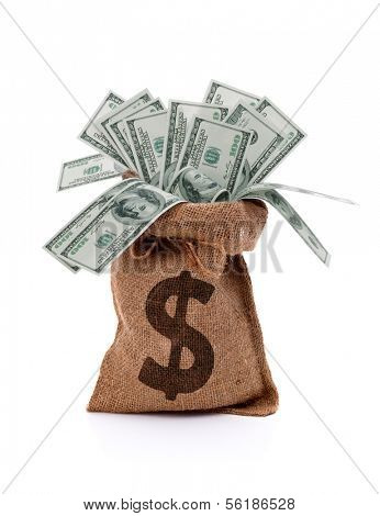US paper currency one hundred dollar bill money in burlap sack bag