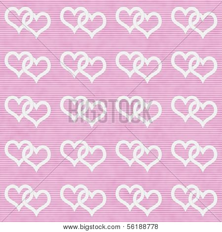 White Interwoven Hearts And Pink Thin Stripes Horizontal Textured Fabric Background