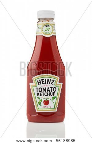 Sarajevo, Bosnia and Herzegovina - January 02, 2014: Studio shot of a bottle of Heinz Tomato Ketchup, manufactured by H.J. Heinz Company