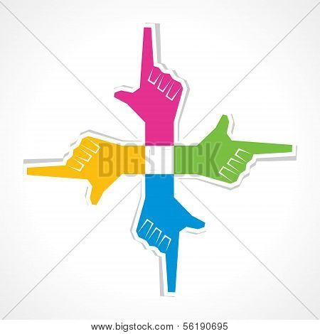 creative pointing hand sticker background