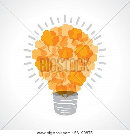 Creative light-bulb of yellow message bubble