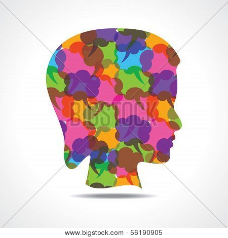 Creative female face of colorful message bubble