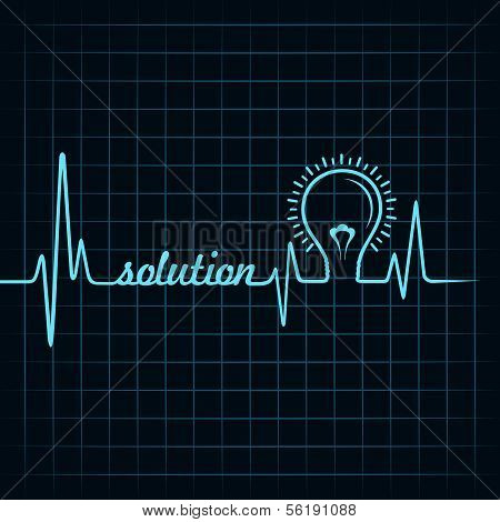 heartbeat make solution word and light-bulb
