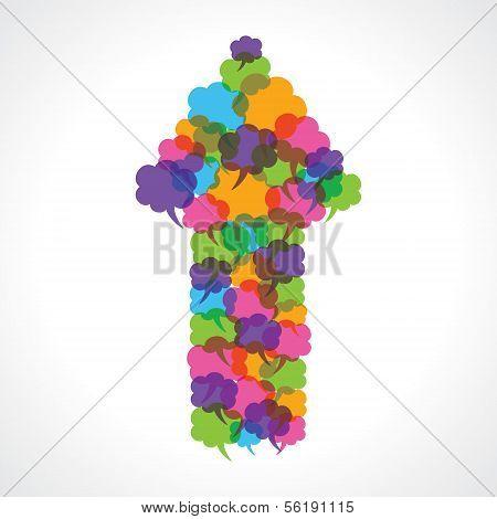 Creative arrow design of colorful message bubble