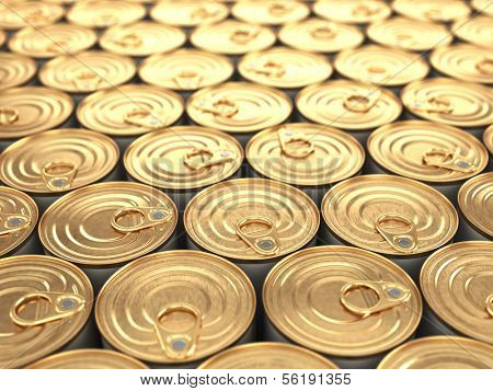 Food tin cans. Groceries background with dof.
