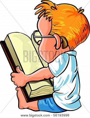 Cartoon little boy reading a big book, isolated on white