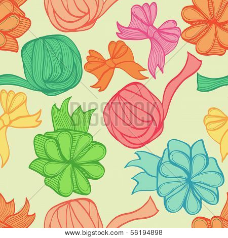 Seamless Hand Drawn Bright Background With Bows And Ribbons