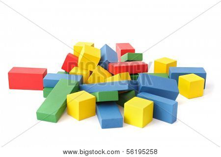 A chaotic pile of colorful blocks. All isolated on white background