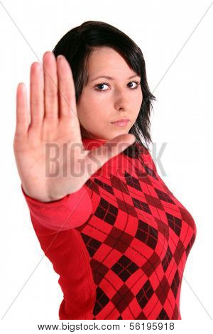A young handsome woman stops someone. All isolated on white background.