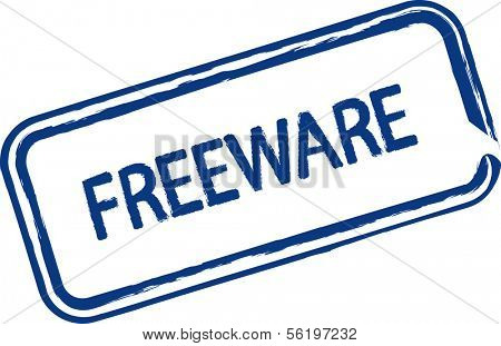 An illustrated stamp that says that something is freeware. All on white background.