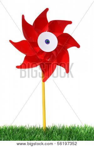 A striking wind wheel. All on white background.