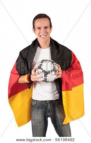 A young german soccer fan.All isolated on white background.