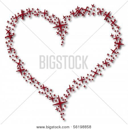 An illustrated heart out of a lot of little red stars. All on white background.