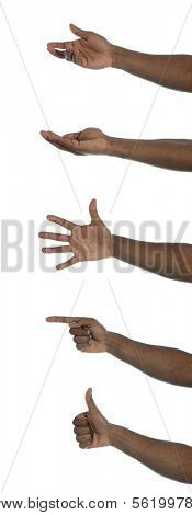 A dark-skinned hand making several gestures. All on white background.