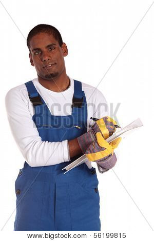 A dark-skinned worker during stocktaking. All on white background.
