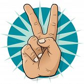 pic of peace-sign  - Pop Art Victory Hand Sign - JPG
