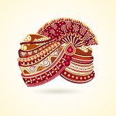 picture of headgear  - vector illustration of colorful Indian turban for marriage - JPG