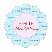 stock photo of mandate  - Health Insurance concept circular diagram in pink and blue with great terms such as premium claims mandate and more - JPG