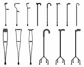 stock photo of crutch  - Silhouettes of sticks and crutches - JPG