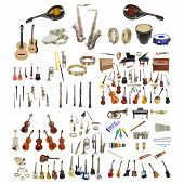 stock photo of banjo  - Different music instruments under the white background - JPG