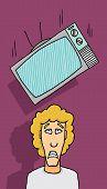 picture of adversity humor  - Cartoon illustration of Tv set falling on guy - JPG