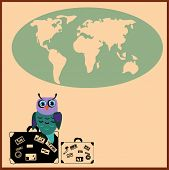 picture of siluet  - Cute Owl with suitcases in cartoon stile - JPG