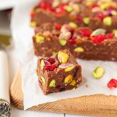 image of chocolate fudge  - Chocolate Fudge with Glace Cherries Pistachios and Coconut square