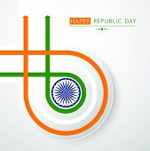 stock photo of ashoka  - Happy Indian Republic Day concept with national flag colors stripes with Ashoka Wheel on grey background - JPG