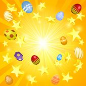 image of ester  - Easter banner background illustration of stars and decorated Easter eggs flying out - JPG