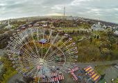 MOSCOW - OCT 22: View from unmanned quadrocopter to ferris wheel against Russian Exhibition Center a