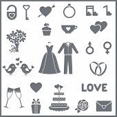 picture of sweethearts  - Set consists 23 vector icons for wedding or Valentine - JPG