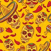 stock photo of day dead skull  - Skull in sombrero Day of The Dead - JPG