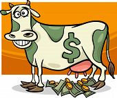 stock photo of cow  - Cartoon Humor Concept Illustration of Cash Cow Saying - JPG