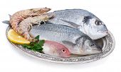 stock photo of catch fish  - Fish and Shrimp in Authentic Plate - JPG