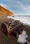 picture of shipwreck  - Shipwrecked engine on Fleswick Bay a nature reserve where you can see kittiwakes fulmars guillemots razorbill cormorant puffin shag and herring gull - JPG