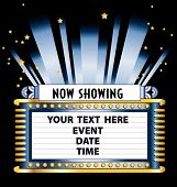 stock photo of movie theater  - An Art Deco style theater marquee to announce a movie event play or magic show - JPG