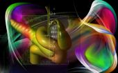 picture of pancreas  - Digital illustration of pancreas  in colour background - JPG