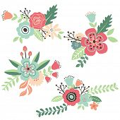 stock photo of card-making  - Hand Draw Vintage Floral Set - JPG