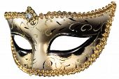 stock photo of venice carnival  - Carnival masquerade mask Christmas black gold white background silver New year - JPG