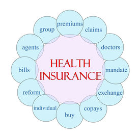 picture of mandate  - Health Insurance concept circular diagram in pink and blue with great terms such as premium claims mandate and more - JPG