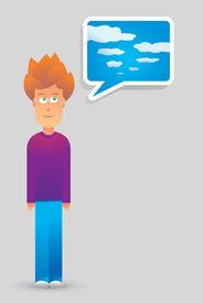 image of pep talk  - Cartoon illustration of a Young guy imagination - JPG