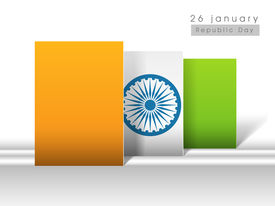 foto of asoka  - Happy Indian Republic Day concept with national flag colors stickers with Asoka wheel on abstract background - JPG