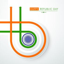 stock photo of ashoka  - Happy Indian Republic Day concept with national flag colors stripes with Ashoka Wheel on grey background - JPG