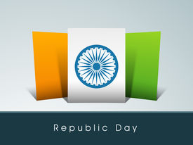 pic of asoka  - Happy Indian Republic Day concept with national flag colors board with Asoka wheel on grey background - JPG