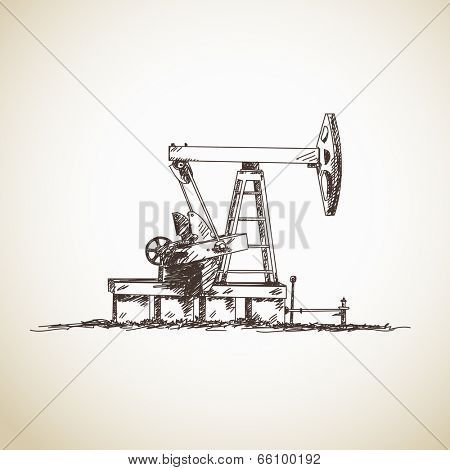 Sketch of oil pump. Hand drawn illustration. Isolated