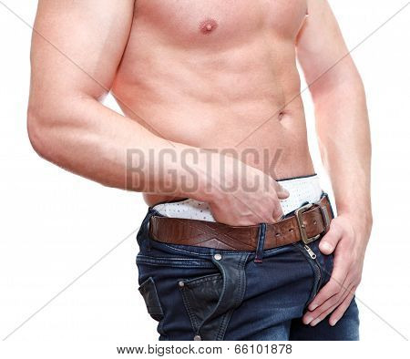 Caucasian Man With Naked Torso Holding Groin Isolated On White Background